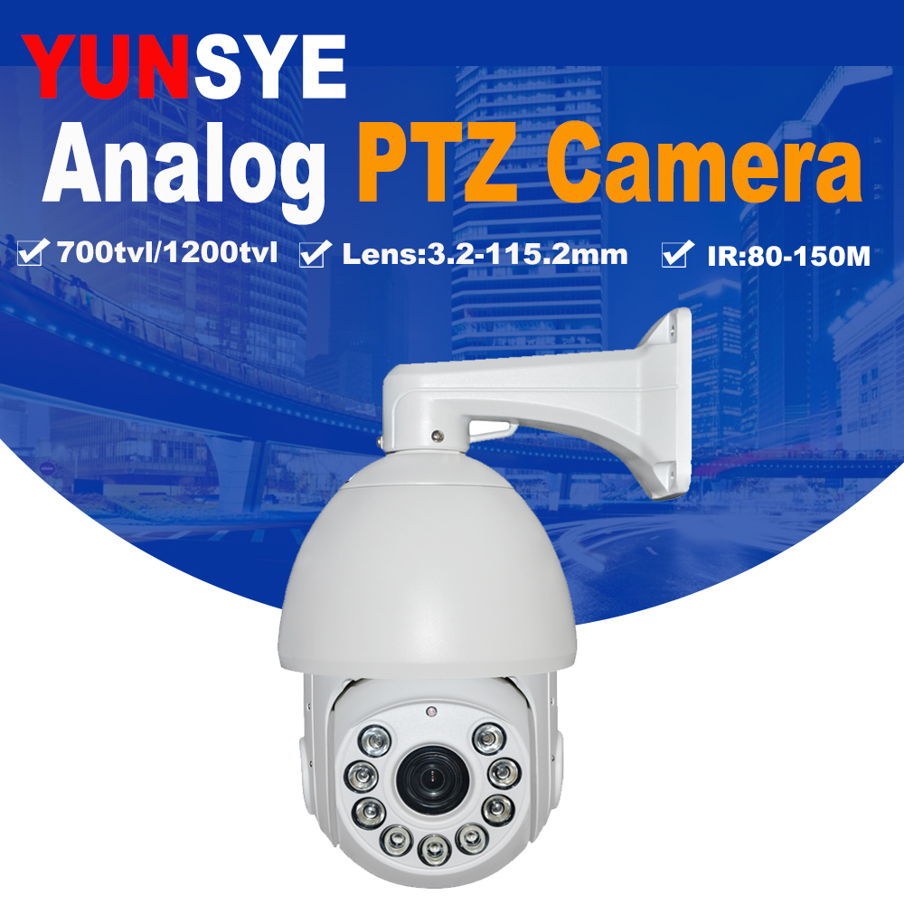 Free shipping 1/3``SONY CCD 700TVL/1200TVL 36X optical zoom IR projection distance 150m IR PTZ high speed dome Analog camera yunsye free shipping sony fcb ex1010p 36x zoom sony camera module 36x zoom camera high resolution mini camera small ptz