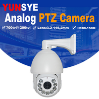 Free shipping 1/3``SONY CCD 700TVL/1200TVL 36X optical zoom IR projection distance 150m IR PTZ high speed dome Analog camera