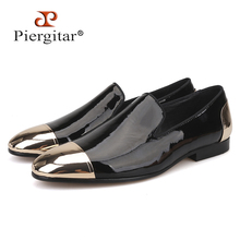 Piergitar 2019 new Black and White Patent Leather men Handmade shoes Party and Wedding men dress shoes Plus size mens loafers