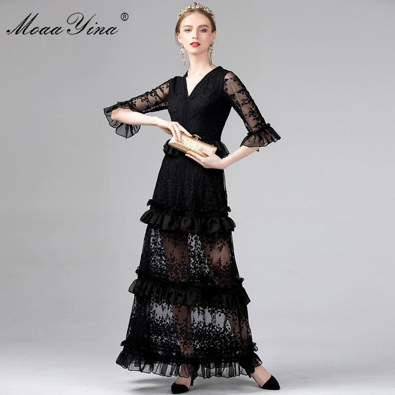 MoaaYina Half sleeve V neck Mesh Floral Embroidery Ruffles Elegant Maxi Dresses Spring Summer Women Dress