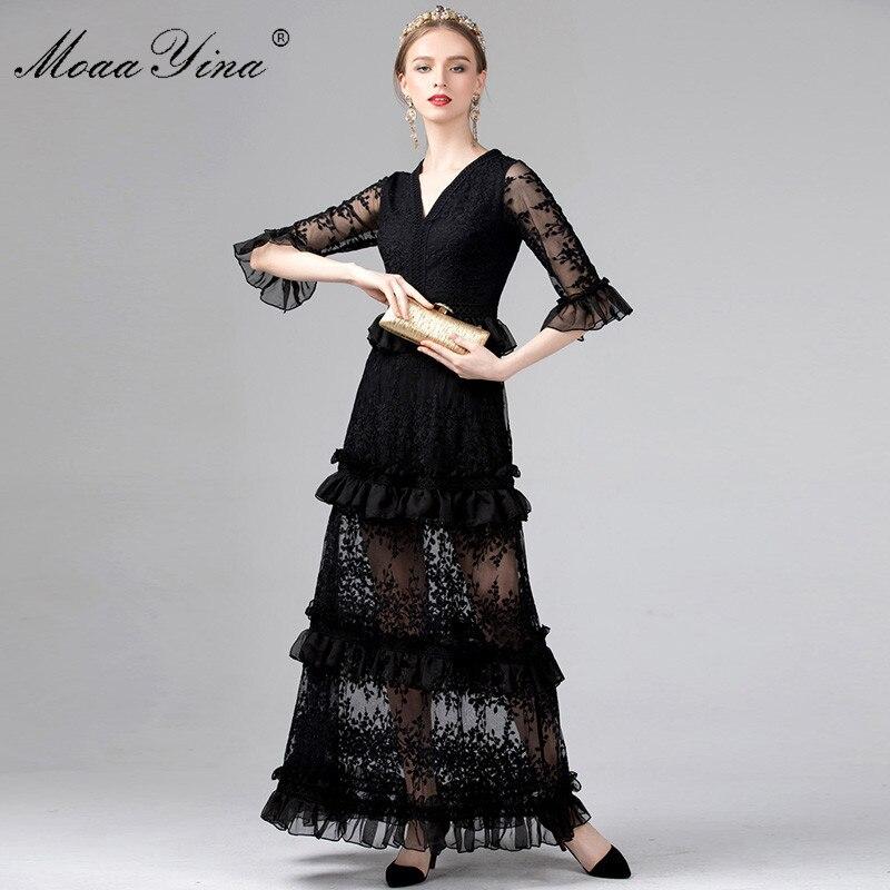 MoaaYina Moitié manches Col V Maille Floral Broderie Ruches Élégant Maxi Robes Printemps Été Femmes Robe de haute qualité robe