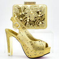 New Fashion Gold Italian Shoes with Matching Bags for Women Shoe and Bag Set Decorated with Rhinestone Nigerian Shoes and Bag