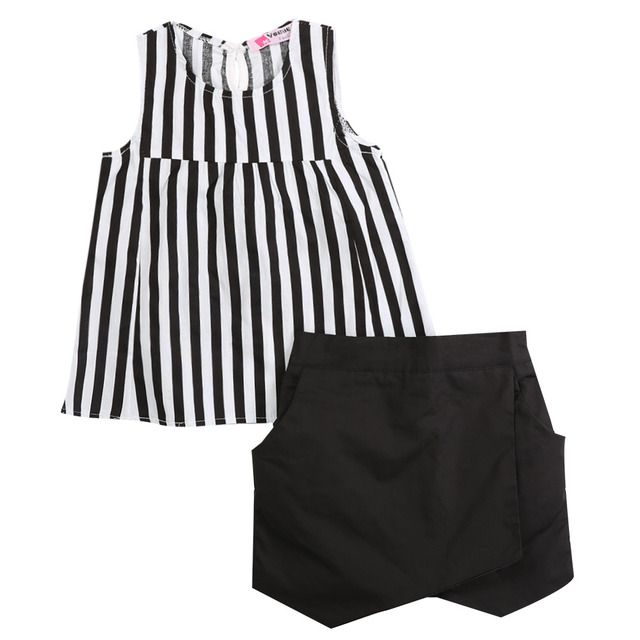 077bd0f84519 Summer Baby Kids Girls Clothes Set Black Striped Tops Sleeveless T ...