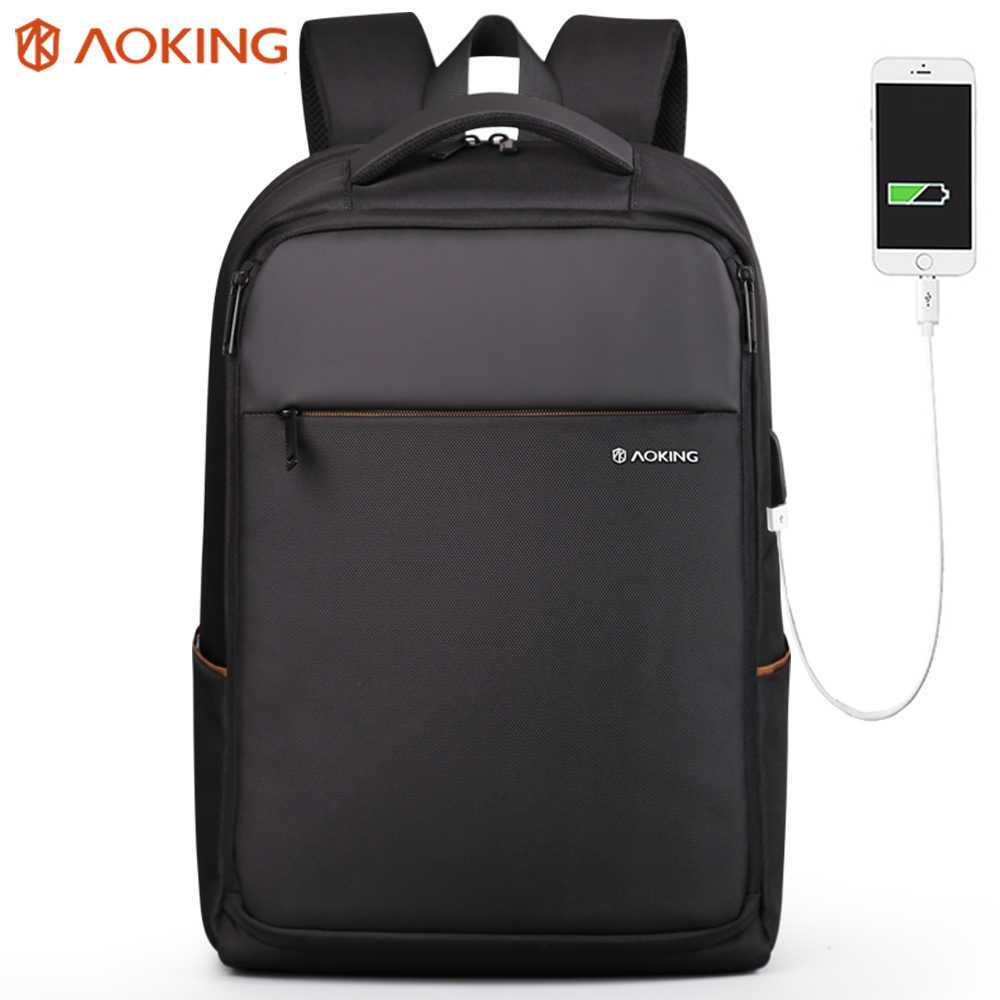 Aoking Business Travel Backpacks Laptop Backpack with USB Charging Port for Men Boy Water Resistant Large College School Bookbag