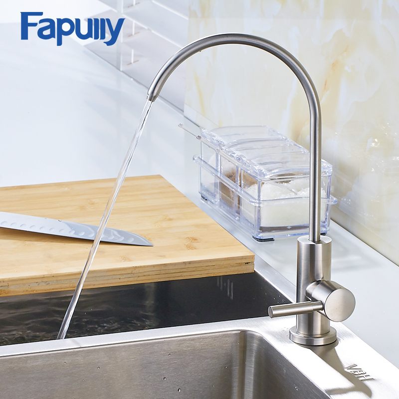 fapully brushed nickel kitchen faucets deck mounted mixer tap swivel 3 way kitchen sink tap filtered drinking water faucet - Kitchen Sink Drink