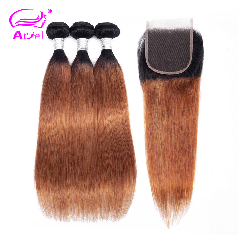 ARIEL Pre Colored Ombre Brazilian Hair 3 Bundles With Lace Closure 4 4 1B 30 Straight