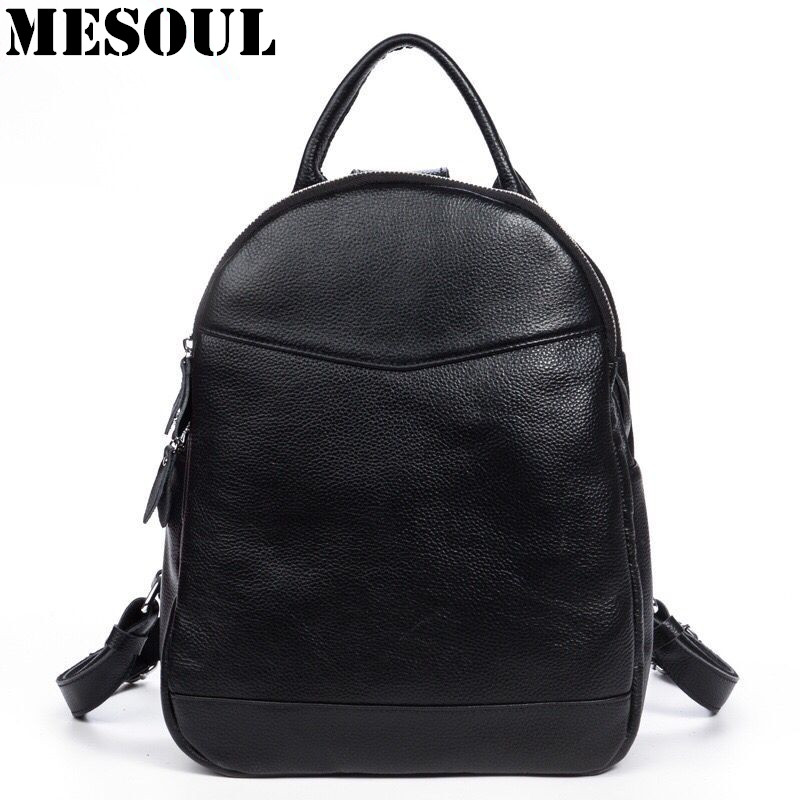 100% Genuine Leather Backpack Women backpacks for teenage girls School Bags Fashion Casual Designer Bags Ladies Travel Rucksack hot sale women s backpack the oil wax of cowhide leather backpack women casual gentlewoman small bags genuine leather school bag