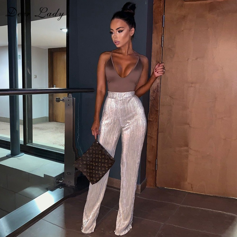 Deer Lady White High Waist   Pants   Women 2019 Party Sexy Long   Wide     Leg     Pants   Summer Elegant Flare   Pants   For Clubwear