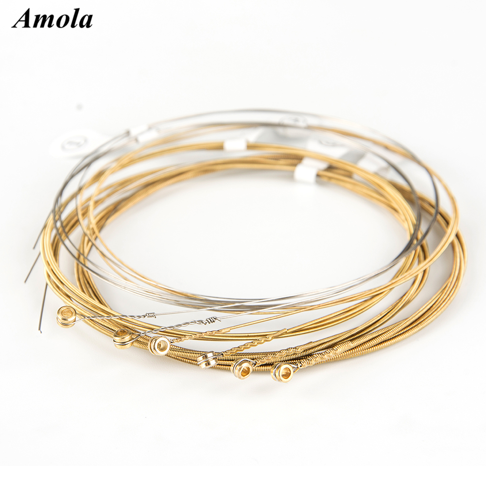 1set Amola Acoustic Guitar Strings 010 011 012 013 80/20 Bronze with Coating Custom Light/Extra Light Wound Guitar Accessories