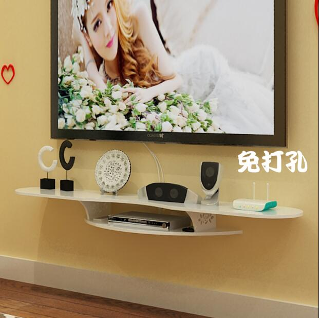 Etagere Murale De Decodeur Tv Simple Etagere Murale Pour Routeur Decoration Murale De L Arriere Plan De La Salle Sans Perforation Aliexpress
