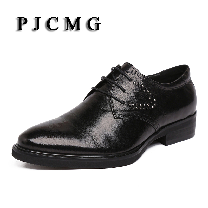 PJCMG Handmad 100% Genuine Leather Men Carved Oxfod Lace-Up Casual Business Black/Wine Red Men Wedding Men Dress Shoes цены онлайн