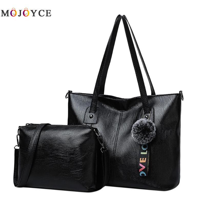 2 Teile/satz Vintage Frauen Weichen Pu Leder Top Griff Tasche Verbund Damen Handtaschen Zipper Totes Tasche Hohe Sicherheit