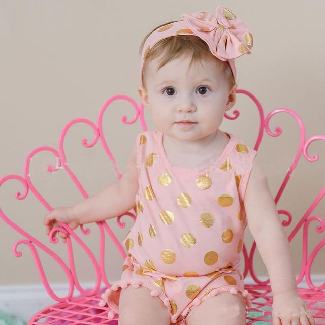 Melda Baby Bodysuit Clothes Infant Girls Clothes Sets White Onsie Hair Accessories Birthday Party Newborn Summer Polka Jumpsuit