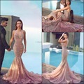 2016 Pele Rosa Árabe Sereia Ameixa Vestidos De Baile Lace Apliques Tribunal Trem Backless Vestidos de Noite formais Disse Mhamad Vestido