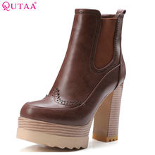 QUTAA 2020 Women Ankle Boots Square High Heel Synthetic Leather Round Toe Platform Women Motorcycle Ankle Boots Size 34-42(China)