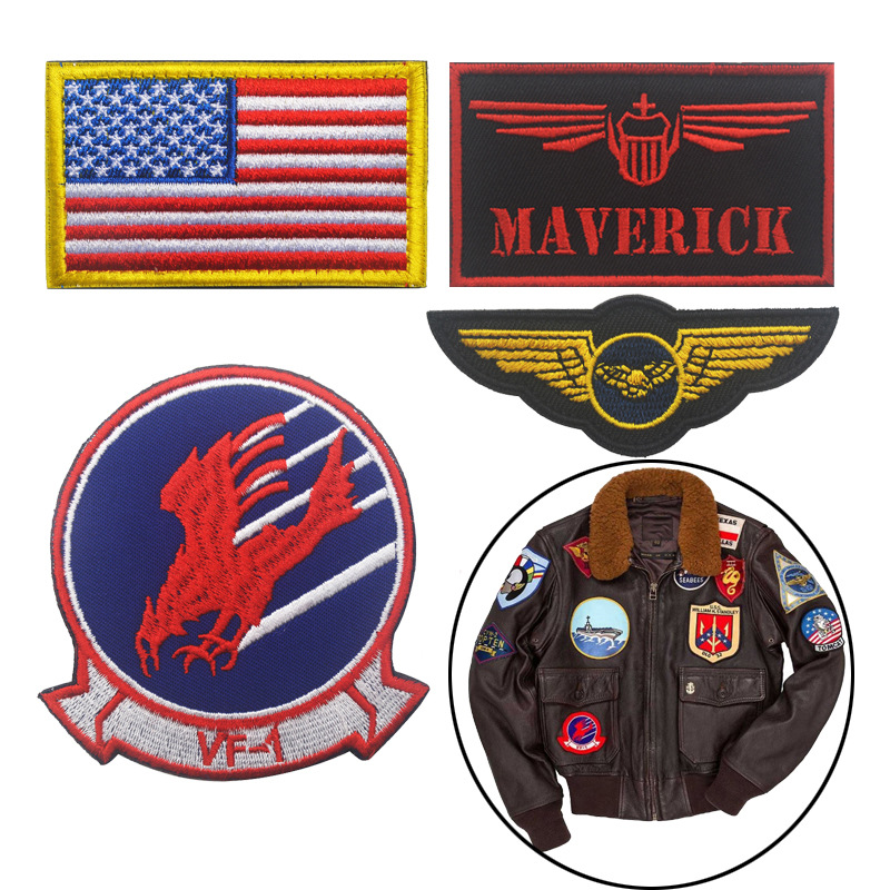 TOP GUN MAVERICK PETE MITCHELL PATCHES GOOSE NICK BRADSHAW TOMCAT USA NAVY FLIGHT PATCH BADGE SET FOR JACKET