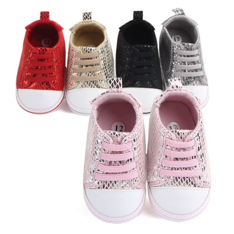 Toddler Newborn Baby Crib Shoes Sequins Baby Soft Sole Anti-Slip Prewalker For Baby Girls Boys First Walk