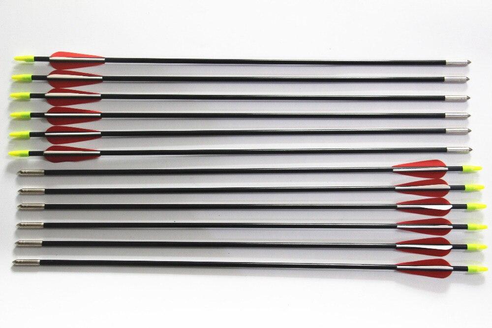 12Pcs Fiberglass 25 Long Arrow Recurve Bow Target Practice Children Hunting Arrows
