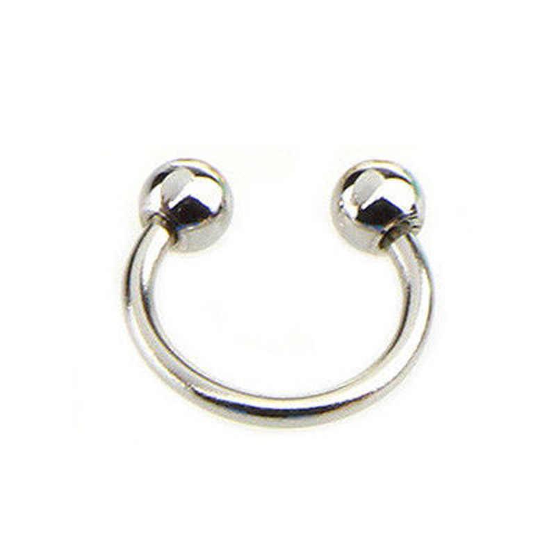 Fake Piercing Nose Septum Ring Lip Nipple Eyebrow Rings Hoop Horseshoe Earrings Piercings Women Men Body Hip Hop Jewelry