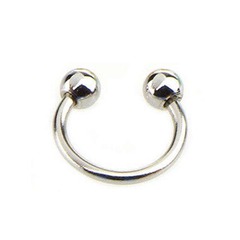 เจาะปลอมจมูก Lip หัวนม Eyebrow แหวน Hoop ต่างหูเกือกม้าเจาะผู้หญิงผู้ชายสะโพก Hop เครื่องประดับ