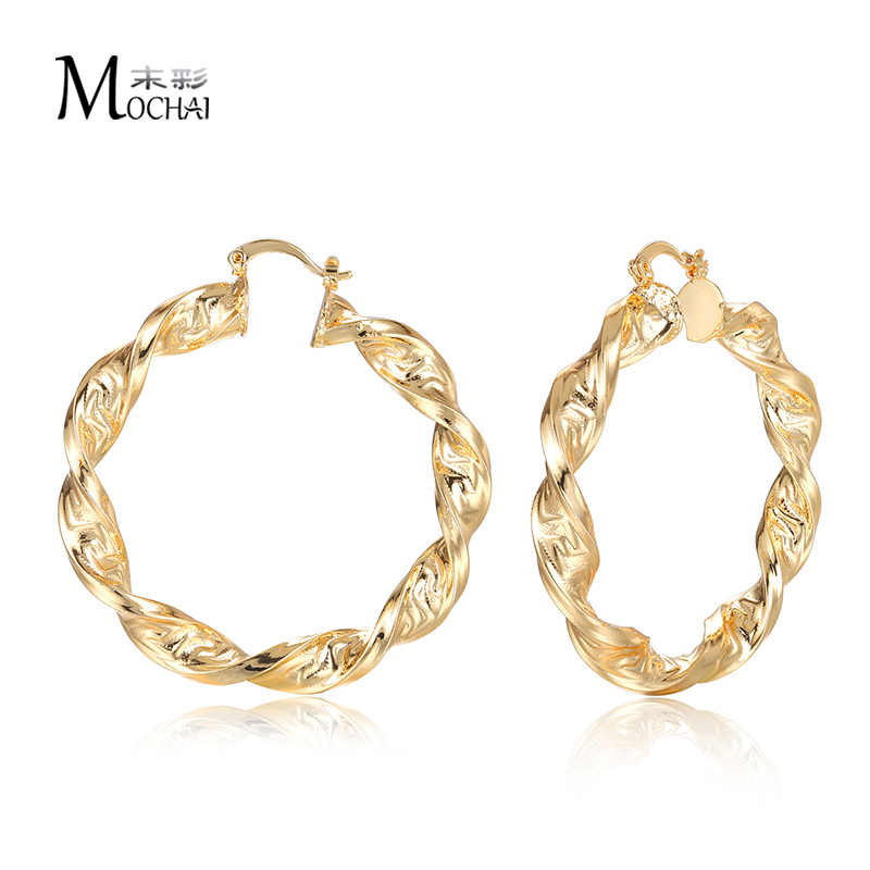Fashion Punk Style Big Metal Great Wall Hoop Earrings For Women Jewelry ZK40 Gold Color Multi Size Pendientes  40/50/60/70/80mm