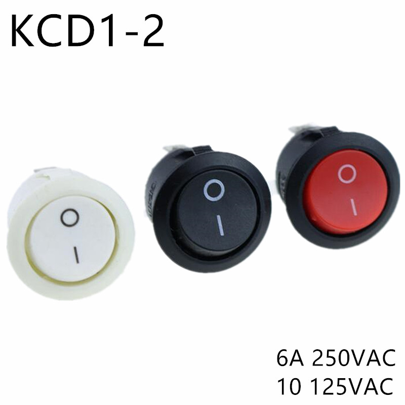 Kcd1 105 Ac 6a 10a 250v On Off Snap Spst Round Boat Rocker Switch Black 2pin Power Switch Push Button Switch Black White Factory
