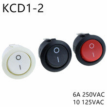 KCD1-105 AC 6A 10A 250V On Off Snap SPST Round Boat Rocker Switch Black 2Pin Power Switch Push Button Switch Black White Factory spst snap in mini boat rocker switch ac 250v 3a 125v 6a 2 pin on off 10 15mm