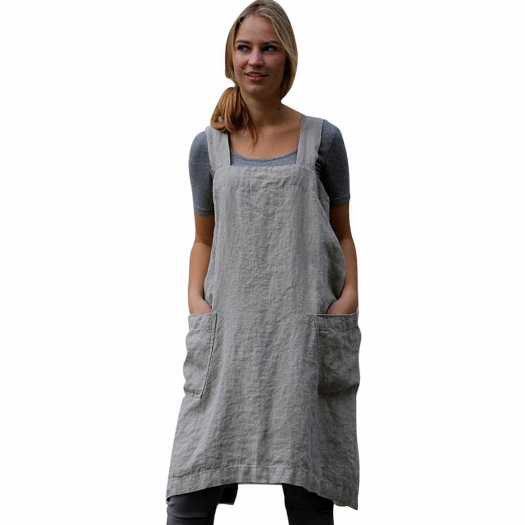 8e27202091 snowshine YLW Women Cotton Linen Pinafore Square Cross Apron Garden Work  Pinafore Dress free shipping