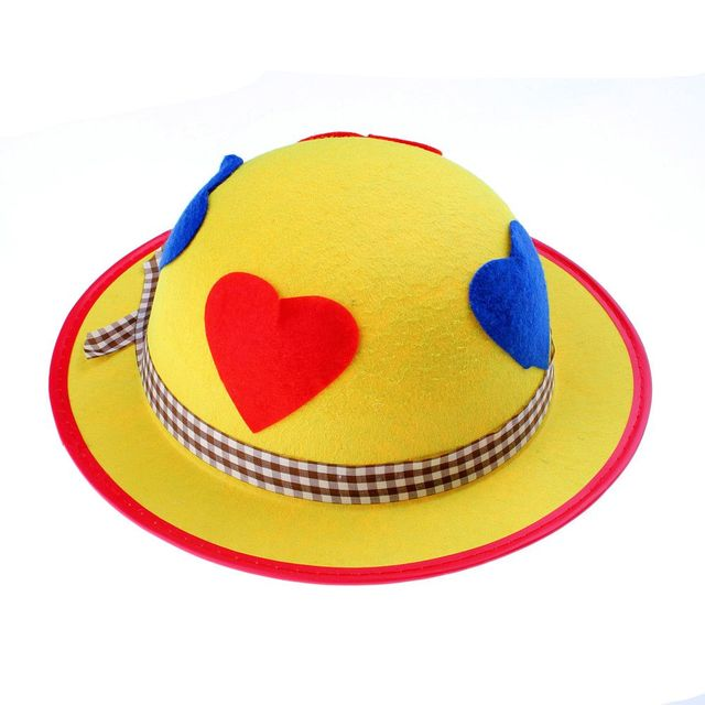 New Fashion Funny Clown Cosplay Hats Props Yellow Bowler Hat Basin Hat for  Show Party Supplies cb7de806644