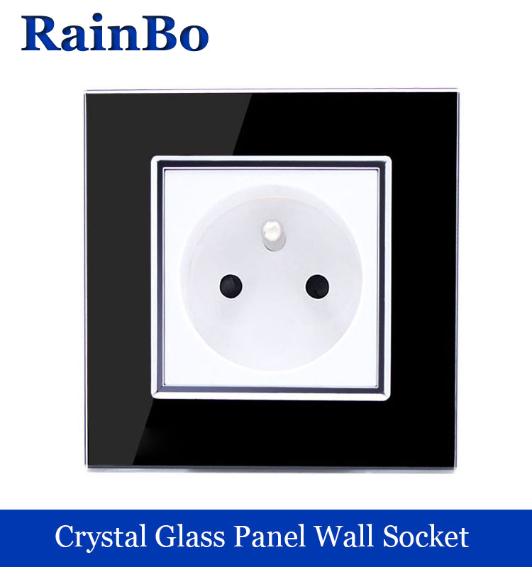 RainBo Brand Free Shipping Wall Power Socket New Outlet French Standard Black Crystal Glass Panel AC 110~250V 16A A18FB dixinge high quality brand german standard socket wall socket tv outlet silvery were pc material panel b120 l134