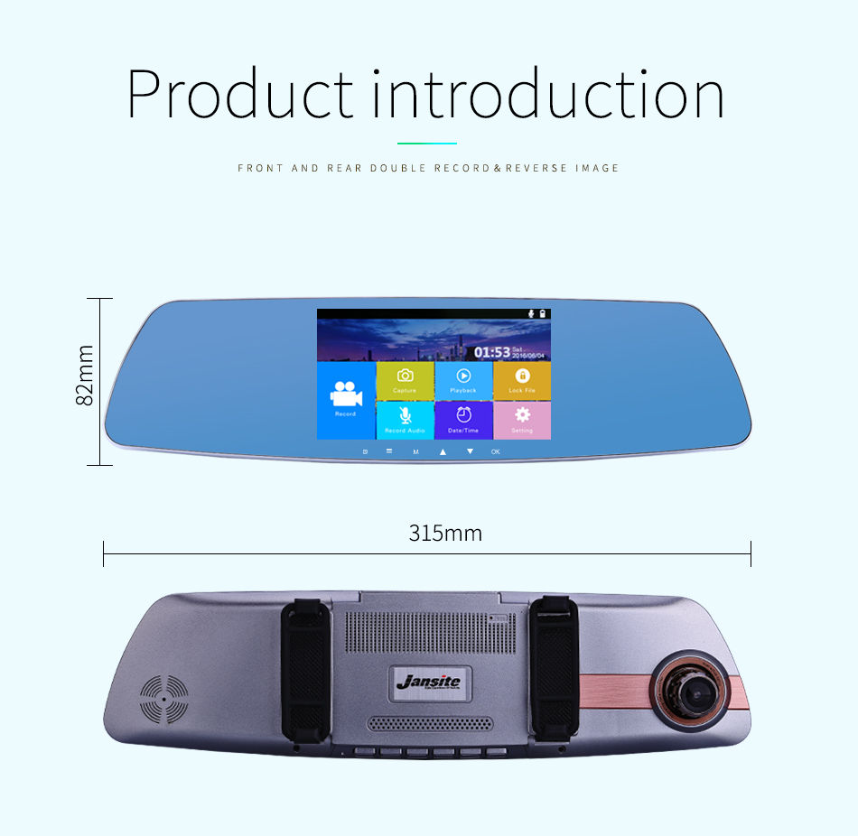 """Jansite Newest 5.0"""" Touch screen Car DVR Camera Super night vision Review Mirror Dvr Detector Video Recorder 1080P Car Dvrs 21"""