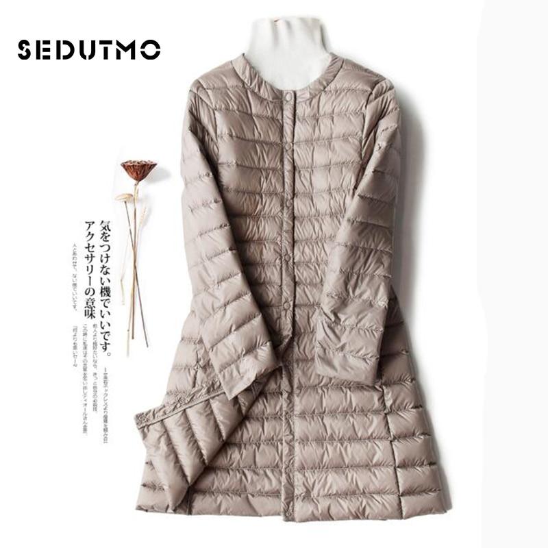 SEDUTMO Winter Plus Size 4XL Womens Down Jackets Ultra Light Duck Down Coat Long Puffer Jacket Black Autumn Parkas ED513