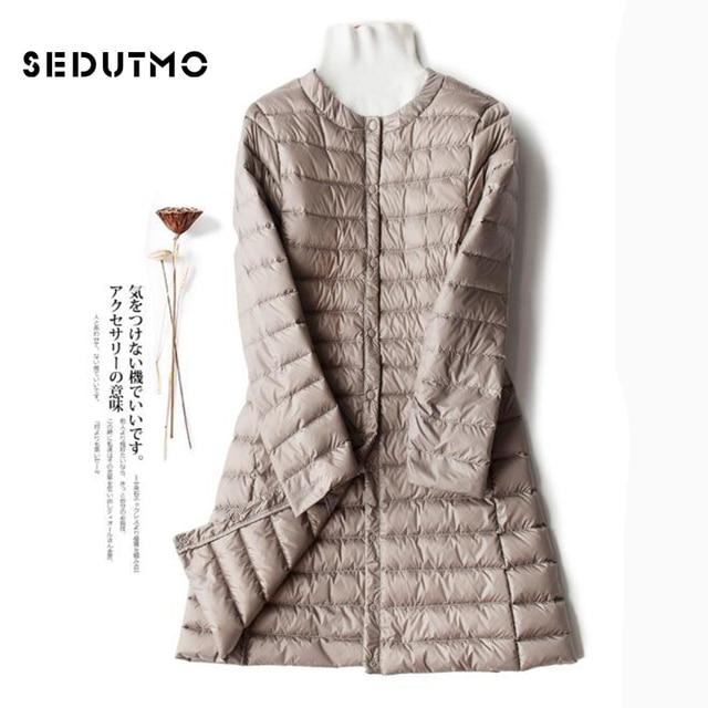 7007d3c49cf SEDUTMO Winter Plus Size 4XL Womens Down Jackets Ultra Light Duck Down Coat  Long Puffer Jacket Black Autumn Parkas ED513
