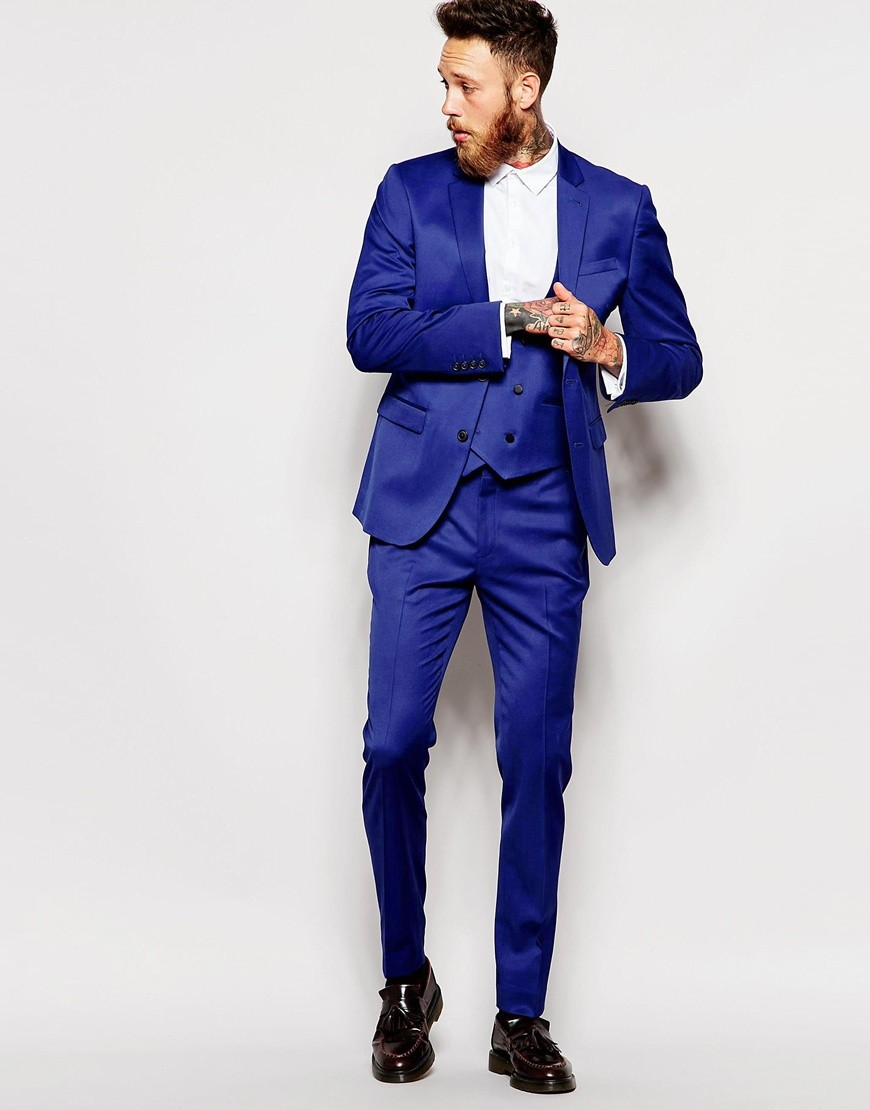 Two Buttons Groomsmen Notch Lapel Groom Tuxedos Royal Blue Men Suits Wedding Best Man Blazer (Jacket+Pants+Tie+Vest)