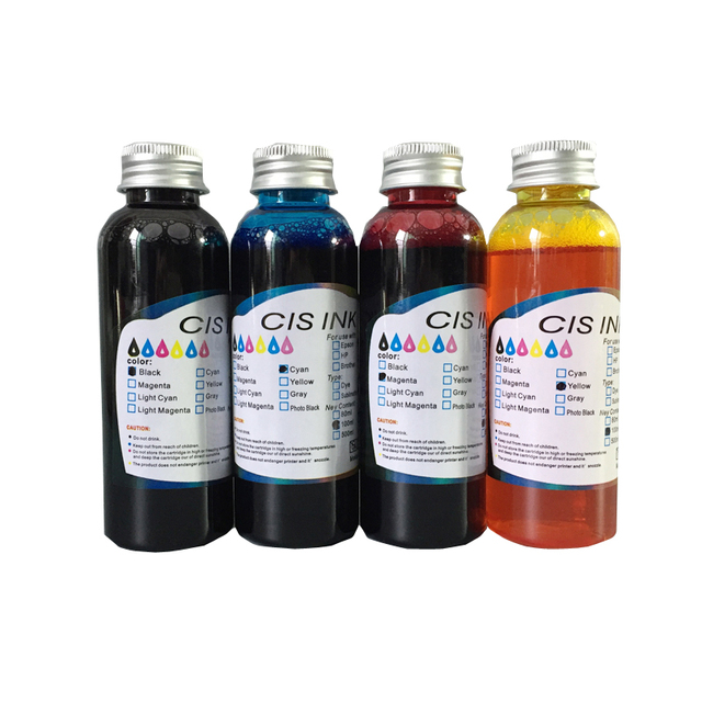 4pcs x 100ML Edible Ink For Epson Canon Desk Inject Printer For Cake ...