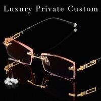 Luksusowe Prywatne Zwyczaj Oprawek Okularów Tytanu Mężczyzn 1.61 Wysokiej Jasne Soczewki Krótkowzroczny Okulary Męskie Złota Dalekowzroczności Starczej Okulary 619