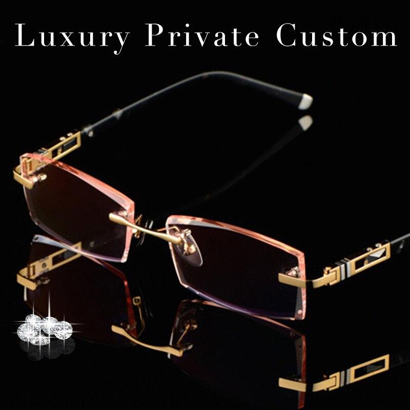 luxury private custom titanium eyeglasses rimless men 161 high clear lenses male myopic glasses gold presbyopic glasses 619
