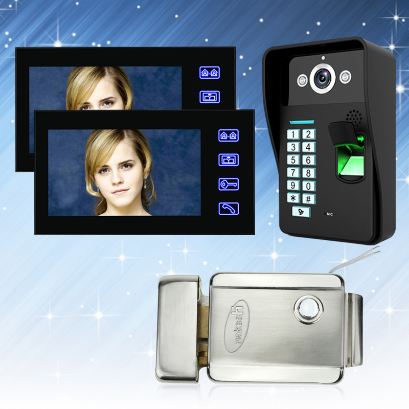 7'' Color Video Intercom System Door Phone Touch Monitor With Electric Lock RFID Fingerprint IR Outdoor Camera Password Keypad free shipping 7 screen video door phone intercom system fingerprint code keypad unlock door camera electric mechanical lock