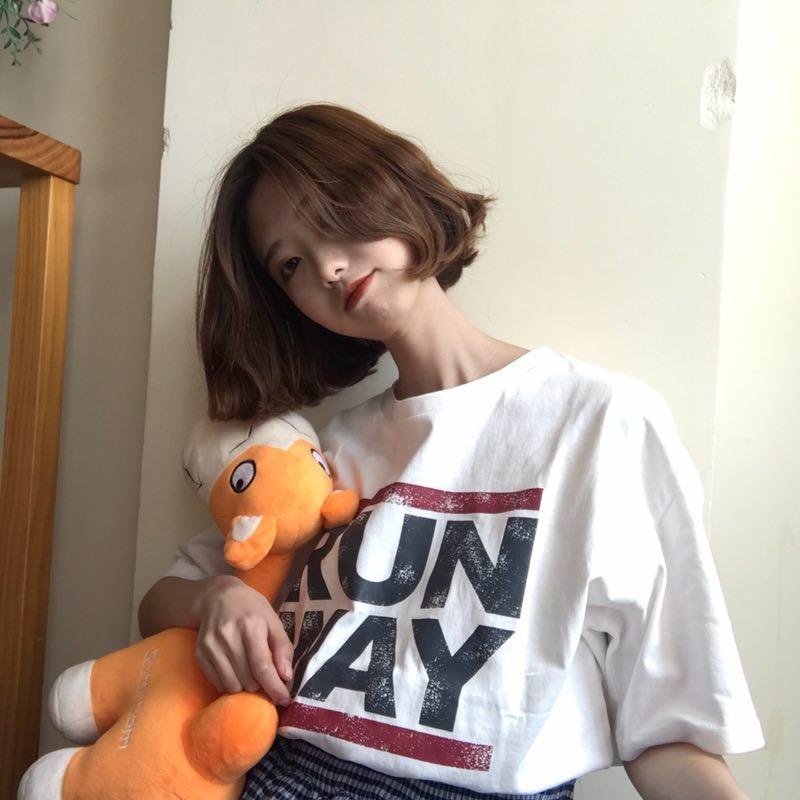Casual Style Woman Short Sleeve Letter RUNWAY Printed Simple T Shirts Cotton Streetwear Tops Harajuku T-Shirts Camisas Mujer