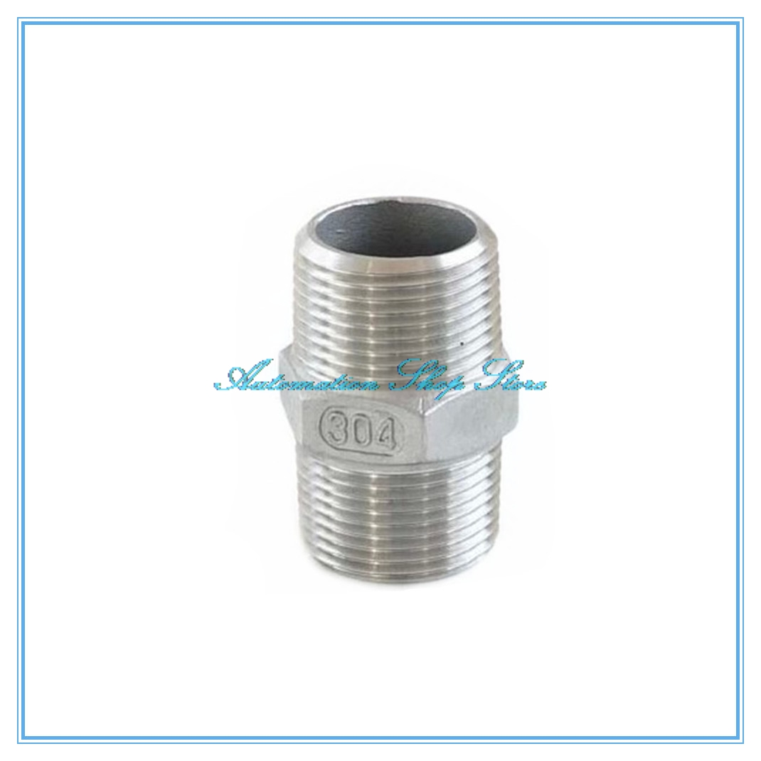 Male To Male Thread Hex Nipple Union 304 Stainless Pipe Fitting Connector Coupler Water Oil Air  M/M
