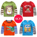 2017 new 1-6Y Boys T-shirt Kids Tees Baby Boy shirts cardigan blouse jacket Children sweater Long Sleeve 100% Cotton lion cars