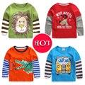 2017 novo 1-6Y Meninos T-shirt Dos Miúdos T-shirt Do Bebê camisas Menino jaqueta blusa cardigan Crianças camisola de Manga Comprida 100% Algodão leão carros