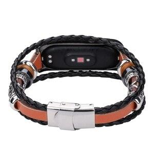Image 5 - OLLIVAN pulsera de piel auténtica para Xiaomi Mi Band 4, 3 capas, negra, plateada, estilo Punk, correa de acero, cierre de joyería de nailon para hombre