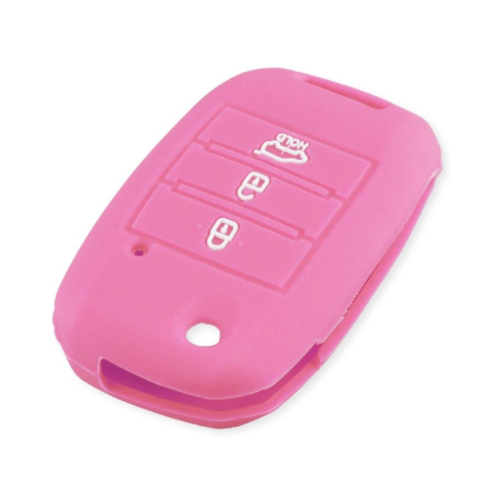 KEYYOU силиконовый откидной складной чехол для ключа автомобиля для KIA Sid Rio Soul Sportage Ceed Sorento Cerato K2 K3 K4 K5 чехол для дистанционного управления - Название цвета: pink