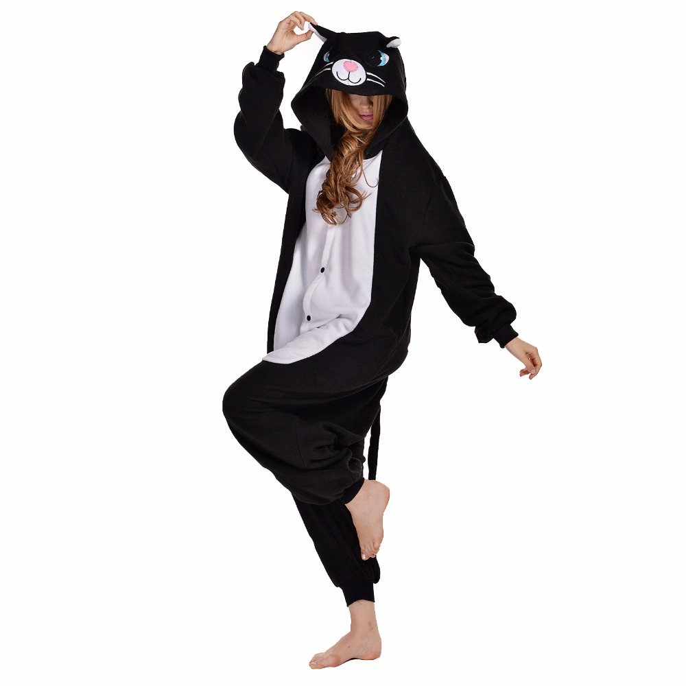 Newcosplay Christmas Black Cat Cosplay Costume Adult Cute Sleepwear Onesies  Unisex Unicorn Nightie Pijamas Women s Pajama Set-in Anime Costumes from  Novelty ... b2c5e2d87