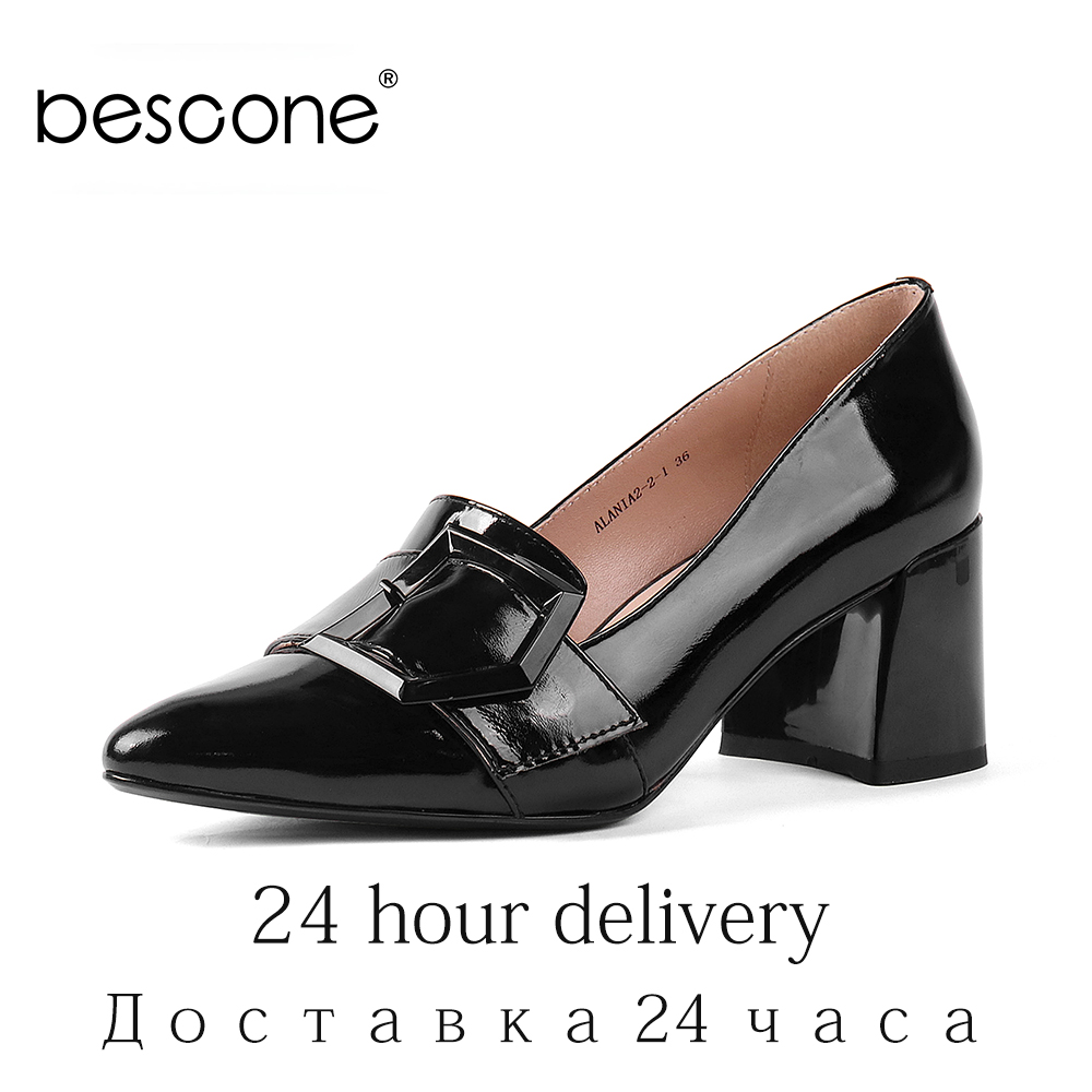 BESCONE Office Pumps Elegant Pointed Toe Square Heels Black Patent Leather Pumps Elegant Comfortable Slip-on Women Shoes BW26BESCONE Office Pumps Elegant Pointed Toe Square Heels Black Patent Leather Pumps Elegant Comfortable Slip-on Women Shoes BW26