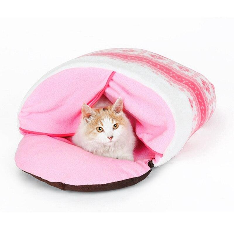 Motif de neige rose chaud petite chambre Spot litière pour chat automne et hiver nid de chien chaud ours en peluche rose nid d'animal familier