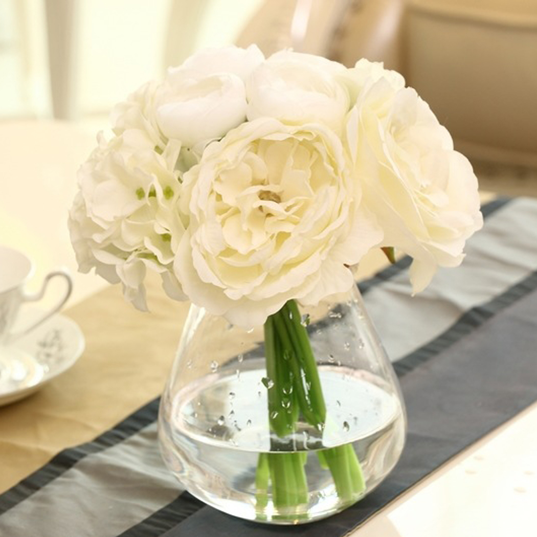 1 Pcs Hydrangeas Bridal Wedding Bridesmaid Decor White Roses Silk