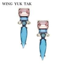 Wing yuk tak модный бренд Bijoux Голубые Стеклянные Прозрачные Серьги-гвоздики в стиле панк для женщин