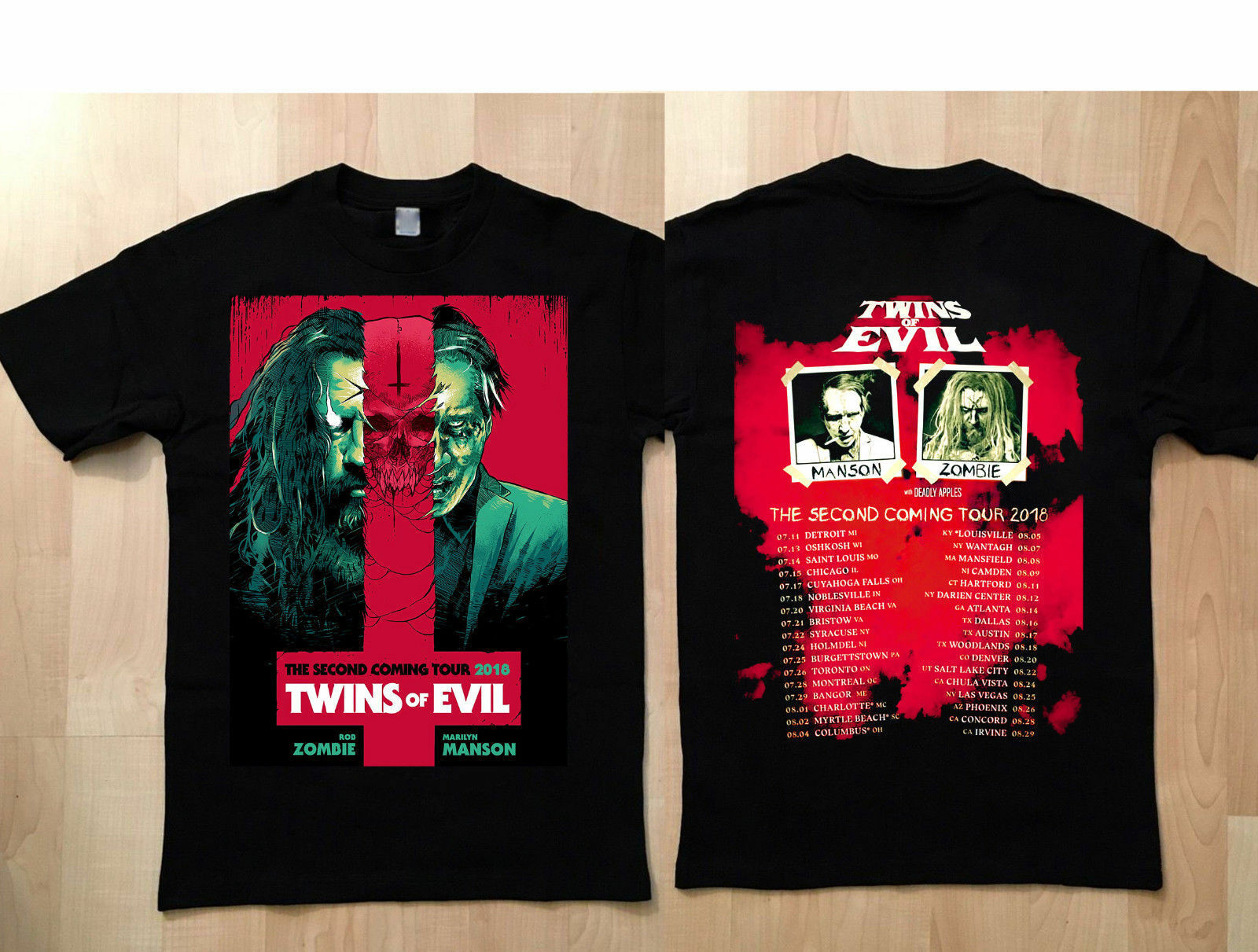 32cc9c95e242 T-Shirt twin of evil the second rob zombie marilyn manson coming tour 2019  NEW. US $13.04